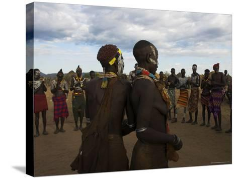 Karo People with Body Painting, Dancing, Lower Omo Valley-Jane Sweeney-Stretched Canvas Print