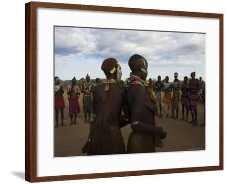 Karo People with Body Painting, Dancing, Lower Omo Valley-Jane Sweeney-Framed Art Print