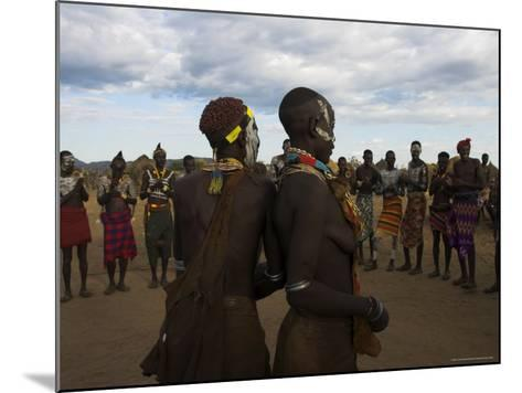 Karo People with Body Painting, Dancing, Lower Omo Valley-Jane Sweeney-Mounted Photographic Print