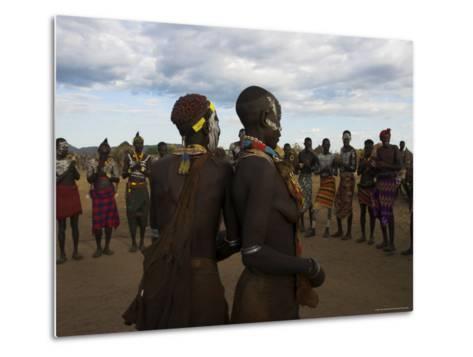 Karo People with Body Painting, Dancing, Lower Omo Valley-Jane Sweeney-Metal Print