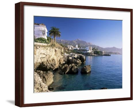 View Along Rocky Coast to Town and Mountains, Nerja, Malaga Area, Costa Del Sol, Andalucia, Spain-Ruth Tomlinson-Framed Art Print
