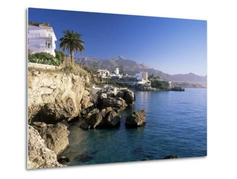 View Along Rocky Coast to Town and Mountains, Nerja, Malaga Area, Costa Del Sol, Andalucia, Spain-Ruth Tomlinson-Metal Print