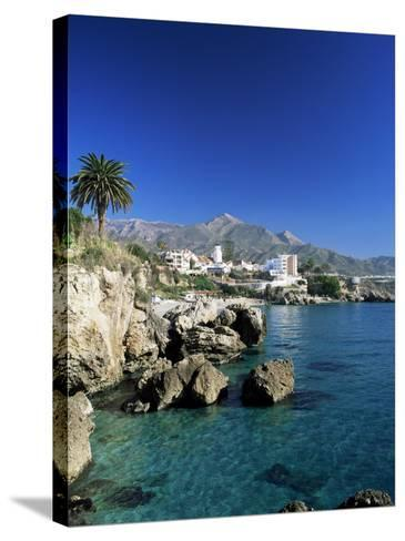 View Along Rock Coast to Town and Mountains, Nerja, Malaga, Andalucia, Spain, Mediterranean-Ruth Tomlinson-Stretched Canvas Print