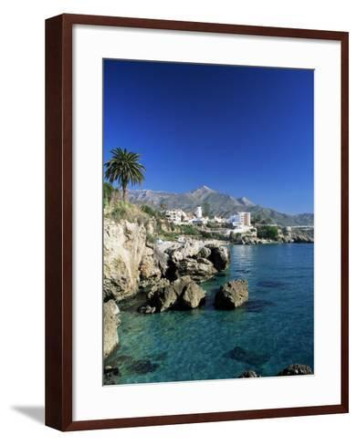View Along Rock Coast to Town and Mountains, Nerja, Malaga, Andalucia, Spain, Mediterranean-Ruth Tomlinson-Framed Art Print