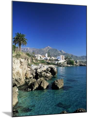 View Along Rock Coast to Town and Mountains, Nerja, Malaga, Andalucia, Spain, Mediterranean-Ruth Tomlinson-Mounted Photographic Print