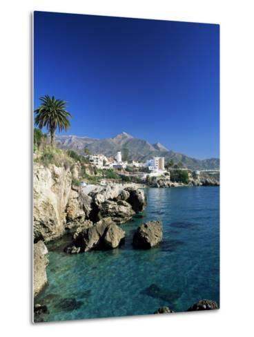 View Along Rock Coast to Town and Mountains, Nerja, Malaga, Andalucia, Spain, Mediterranean-Ruth Tomlinson-Metal Print