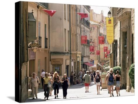 People in the Rue Gaston-De-Saporta, Aix-En-Provence, Bouches Du Rhone, Provence, France-Ruth Tomlinson-Stretched Canvas Print