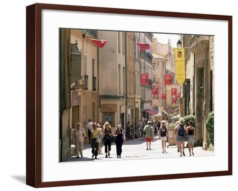 People in the Rue Gaston-De-Saporta, Aix-En-Provence, Bouches Du Rhone, Provence, France-Ruth Tomlinson-Framed Art Print