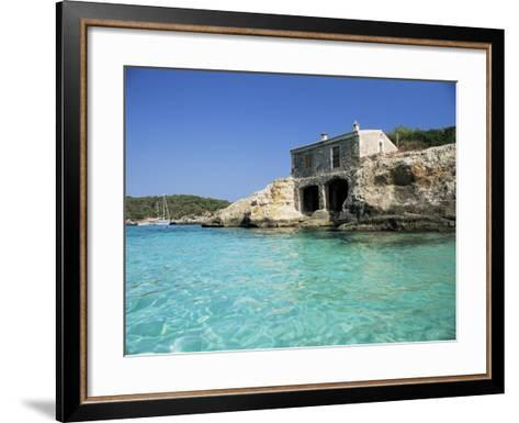 Stone Dwelling Overlooking Bay, Cala Mondrago, Majorca, Balearic Islands, Spain-Ruth Tomlinson-Framed Art Print