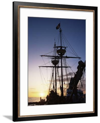 Pirate Ship in Hog Sty Bay, During Pirates' Week Celebrations, George Town, Cayman Islands-Ruth Tomlinson-Framed Art Print