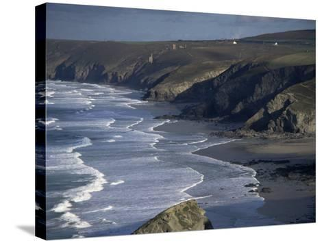 Surf and Tin Mine Chimneys in Distance, Porthtowan, Cornwall, England, United Kingdom-D H Webster-Stretched Canvas Print
