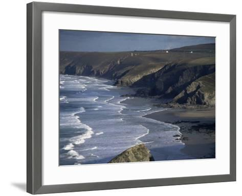 Surf and Tin Mine Chimneys in Distance, Porthtowan, Cornwall, England, United Kingdom-D H Webster-Framed Art Print
