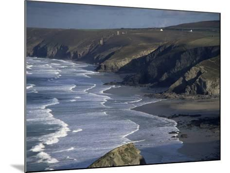 Surf and Tin Mine Chimneys in Distance, Porthtowan, Cornwall, England, United Kingdom-D H Webster-Mounted Photographic Print