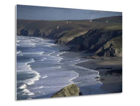Surf and Tin Mine Chimneys in Distance, Porthtowan, Cornwall, England, United Kingdom-D H Webster-Metal Print