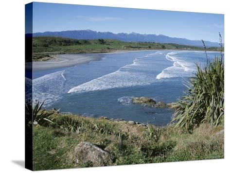 Surf Rolling onto Deserted Beaches, Greymouth, Westland, West Coast, South Island, New Zealand-D H Webster-Stretched Canvas Print