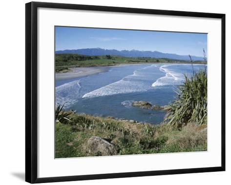 Surf Rolling onto Deserted Beaches, Greymouth, Westland, West Coast, South Island, New Zealand-D H Webster-Framed Art Print