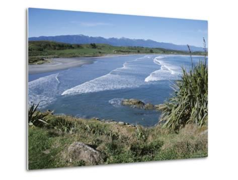 Surf Rolling onto Deserted Beaches, Greymouth, Westland, West Coast, South Island, New Zealand-D H Webster-Metal Print