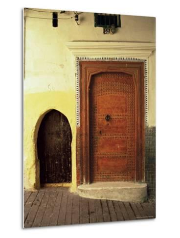 Doors in the Medina, Tangiers, Morocco, North Africa, Africa-Guy Thouvenin-Metal Print