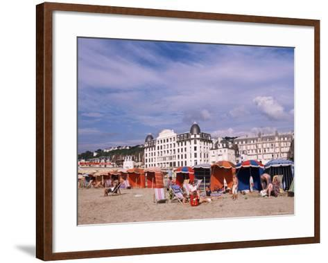 Beach Tents on the Beach, Trouville, Basse Normandie (Normandy), France-Guy Thouvenin-Framed Art Print