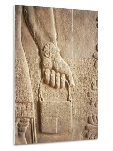 Close up of Carved Relief, Nimrud, Iraq, Middle East-Nico Tondini-Metal Print