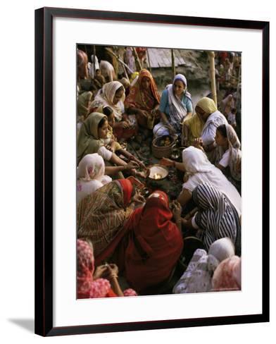 Women Performing Puja on the River Front, Varanasi (Benares), Uttar Pradesh State, India-John Henry Claude Wilson-Framed Art Print