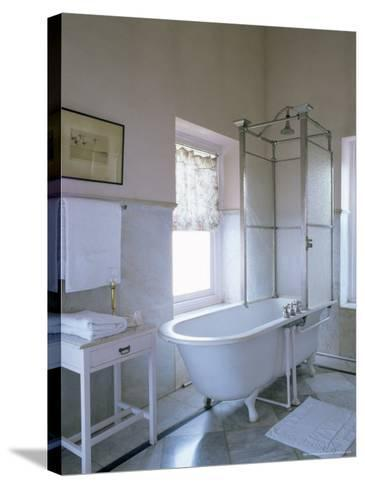 One of the Original Bathrooms from the 1930s and 1940s, Udai Bilas Palace-John Henry Claude Wilson-Stretched Canvas Print