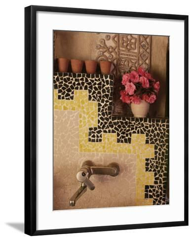 Raised Mud Reliefs Inlaid with Mirror on the Walls in Bathroom of Modern Home-John Henry Claude Wilson-Framed Art Print