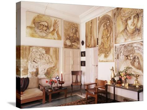 Paintings by Jaya Rastogi Wheaton, in Artist's House in Jaipur, India-John Henry Claude Wilson-Stretched Canvas Print