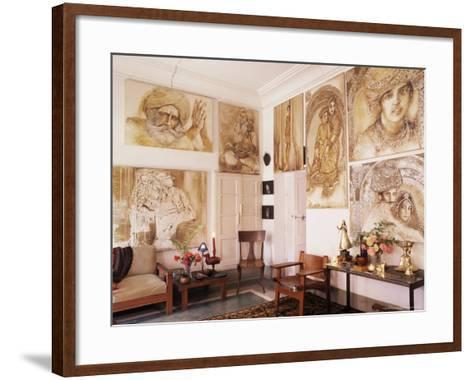 Paintings by Jaya Rastogi Wheaton, in Artist's House in Jaipur, India-John Henry Claude Wilson-Framed Art Print