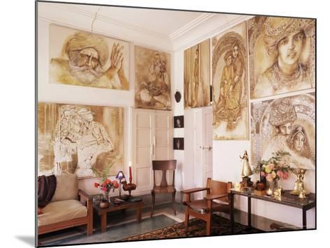 Paintings by Jaya Rastogi Wheaton, in Artist's House in Jaipur, India-John Henry Claude Wilson-Mounted Photographic Print