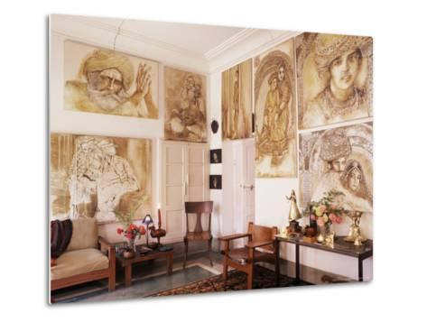 Paintings by Jaya Rastogi Wheaton, in Artist's House in Jaipur, India-John Henry Claude Wilson-Metal Print