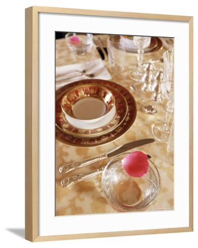 Dining Room Table Top Detail in Private Residence, Samode Bagh or Garden, Samode, India-John Henry Claude Wilson-Framed Art Print