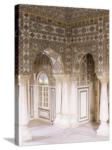 The Sheesh Mahal (Mirrored Hall) (Hall of Mirrors), the City Palace, Jaipur, Rajasthan State, India-John Henry Claude Wilson-Stretched Canvas Print