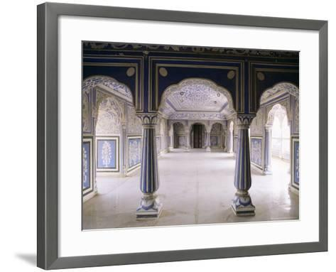 Stylized Foral Motif, Chalk Blue and White Painted Mahal, the City Palace, Jaipur, India-John Henry Claude Wilson-Framed Art Print