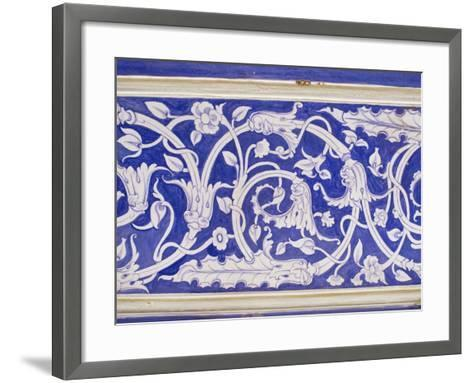Abstract or Stylized Floral Motif, Chalk Blue and White Painted Mahal, the City Palace-John Henry Claude Wilson-Framed Art Print