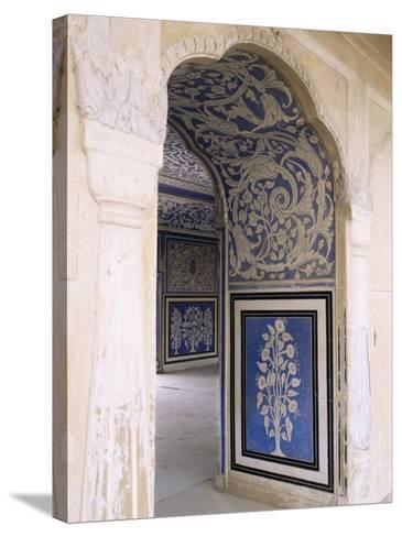 Stylized Foral Motif, Chalk Blue and White Painted Mahal, the City Palace, Jaipur, India-John Henry Claude Wilson-Stretched Canvas Print