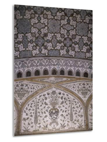 Interior Decorative Detail, Amber Fort, One of the Great Rajput Forts, Amber, Near Jaipur, India-John Henry Claude Wilson-Metal Print