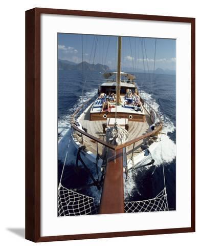 Tourists Sunbathing on Deck of Gulet, Turkey, Eurasia-Adam Woolfitt-Framed Art Print