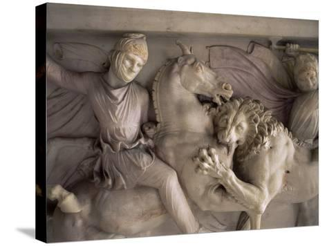 Detail of the Marble Sarcophagus of Alexander the Great, Topkapi, Istanbul, Turkey-Adam Woolfitt-Stretched Canvas Print