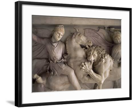 Detail of the Marble Sarcophagus of Alexander the Great, Topkapi, Istanbul, Turkey-Adam Woolfitt-Framed Art Print