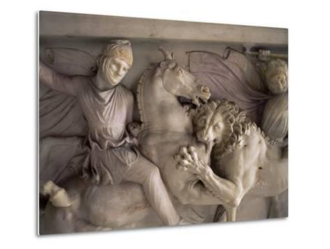 Detail of the Marble Sarcophagus of Alexander the Great, Topkapi, Istanbul, Turkey-Adam Woolfitt-Metal Print