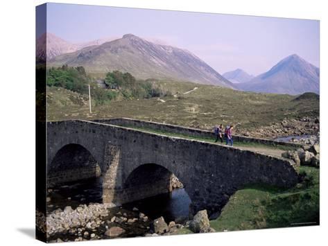 Walkers at Sligachan, Heart of the Isle of Skye, Highland Region, Scotland, United Kingdom-Adam Woolfitt-Stretched Canvas Print