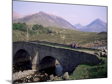 Walkers at Sligachan, Heart of the Isle of Skye, Highland Region, Scotland, United Kingdom-Adam Woolfitt-Mounted Photographic Print