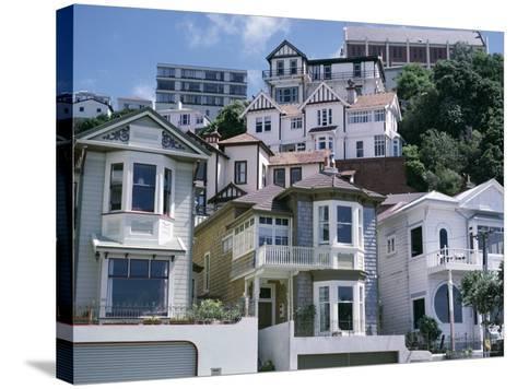 Houses, Wellington, North Island, New Zealand-Adam Woolfitt-Stretched Canvas Print