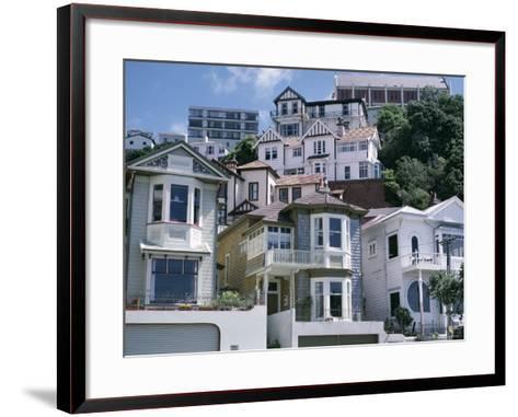 Houses, Wellington, North Island, New Zealand-Adam Woolfitt-Framed Art Print