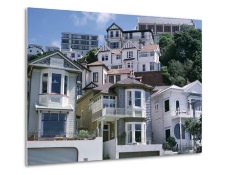 Houses, Wellington, North Island, New Zealand-Adam Woolfitt-Metal Print