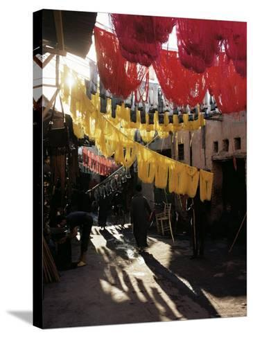 Dyed Wool, Dyers Souk, Marrakesh, Morocco, North Africa, Africa-Adam Woolfitt-Stretched Canvas Print