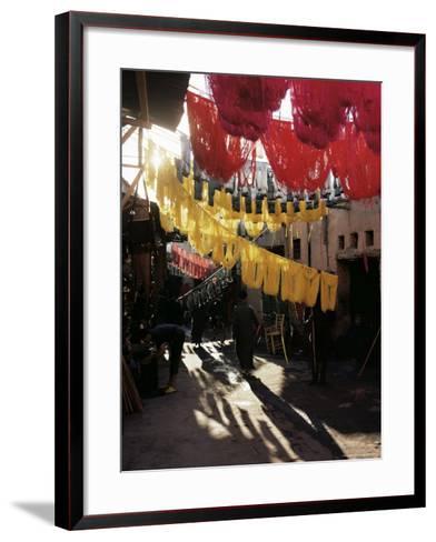Dyed Wool, Dyers Souk, Marrakesh, Morocco, North Africa, Africa-Adam Woolfitt-Framed Art Print