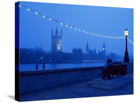 Houses and Parliament from Across the Thames, London, England, United Kingdom-Nick Wood-Stretched Canvas Print