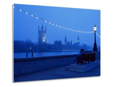 Houses and Parliament from Across the Thames, London, England, United Kingdom-Nick Wood-Metal Print